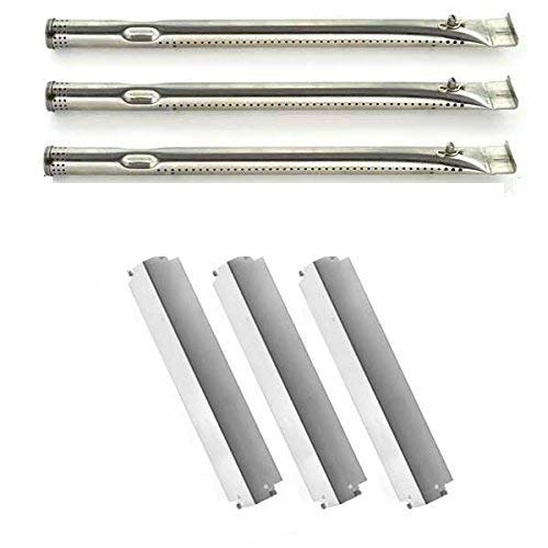 Repair Kit For Charbroil 463261709, 463257010, 463247310 BBQ Gas Grill Includes 3 Stainless Steel Burners and 3 Stainless Steel Heat Plates