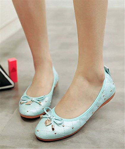 Bow Foldable Pointed Soft Blue Slip on Ballet Cloudless Flats Womens Toe Flats B4qxwTF