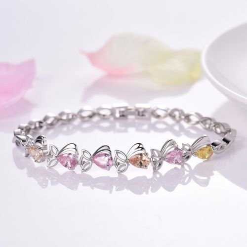 (Gozebra(TM) Womens Lovely Charms Multi-colored Topaz Crystal White Gold Filled Chic Bracelet)