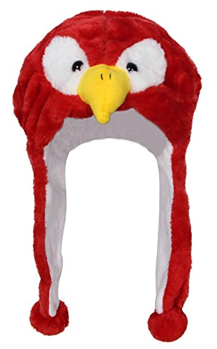 Bioterti Plush Fun Animal Hats –One Size Cap - 100% Polyester With Fleece Lining (Red (Eagles Plush Fleece)