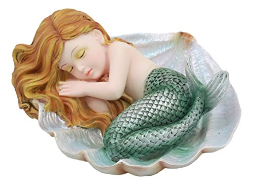 (Ebros Under The Sea Baby Mermaid Sleeping On Oyster Shell Figurine Iridescent Green Tailed Mermaid Baby Sculpture)