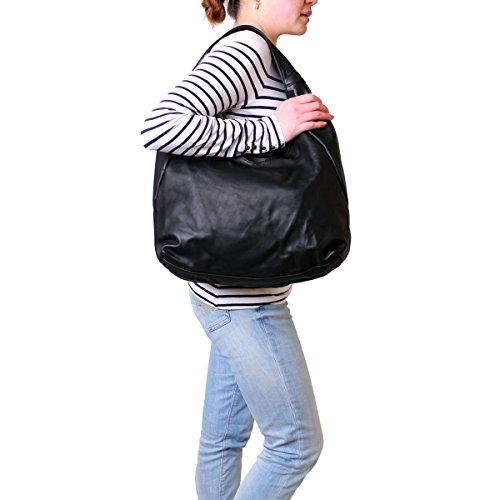 XL Handtasche Damen Schultertasche Shopper Umhängetasche Bag Tasche Leder Schwarz Damentasche Damenhandtasche Henkeltasche