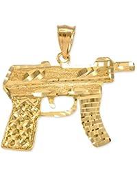 10k Gold AK-47 Machine Pistol Gun Diamond-cut Pendant