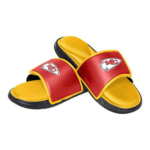 Flops Flip Team (NFL Kansas City Chiefs Mens Deluxe Foam Sport Shower Slide Flip Flop SandalsDeluxe Foam Sport Shower Slide Flip Flop Sandals, Team Color, Small/Mens Size 7-8)