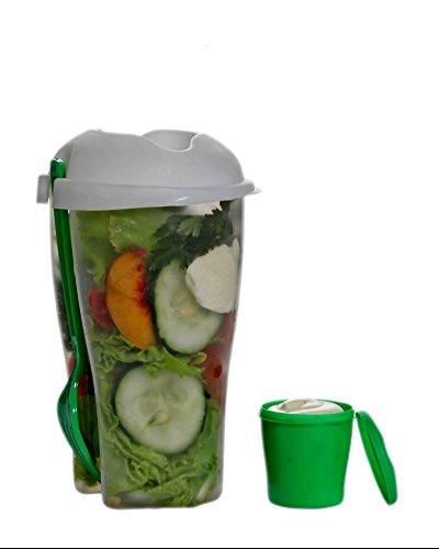 CHIPYHOME Recipiente para ensalada con receptaculo independiente para salsa y tenedor picnic trabajo dietas