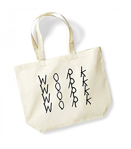 Work, Work, Work, Work - Large Canvas Fun Slogan Tote Bag Natural/Black