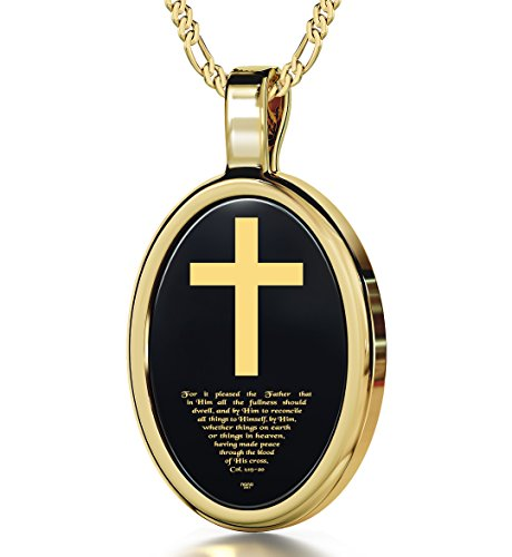 14k Yellow Gold Christian Cross Necklace - Colossians Pendant Inscribed in 24k Gold on Oval Black Onyx Stone, 18