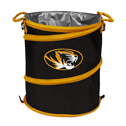 NCAA Missouri Tigers Adult Collapsible 3-in-1 Trash Can, Black
