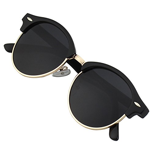 GQUEEN Classic Clubmaster Horn Rimmed Half Frame Polarized Sunglasses Brand Designer - Aluminum Clubmasters