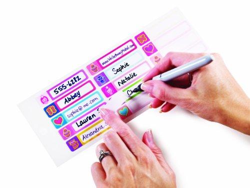 Mabel's Labels - Laminado automático, Etiquetas de escritura con nombre para niños (Niñas - Íconos bonitos), A prueba de agua, Apto para lavavajillas y microondas, 30 etiquetas listas para la escuela, guardería y campamento