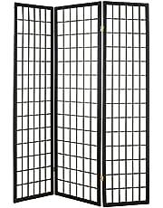 ORE International R530 3-Panel Room Divider, Black