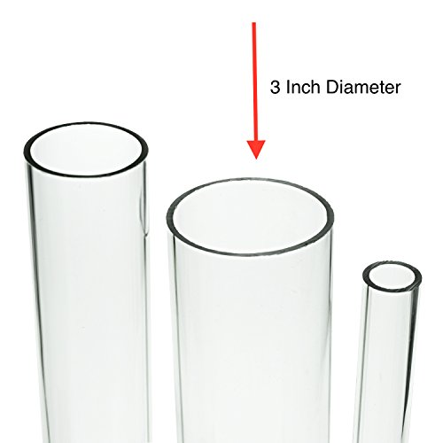 Source One Deluxe Clear Acrylic Tube 3 Inches Thick (12 Inch, 3 Inch Wide)