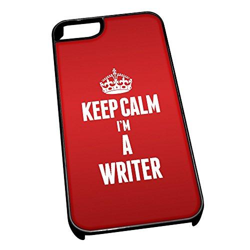Nero cover per iPhone 5/5S 2718Red Keep Calm I m A WRITER