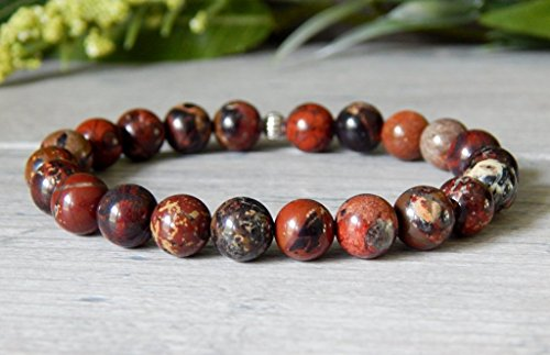 (Natural Gemstone Beaded Bracelet 8mm Red Jasper Stone Beads in Earthy Deep Red Tones)