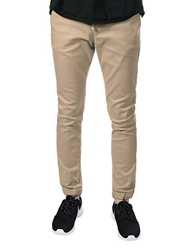 JD Apparel Men's Skinny Fit Harem Joggers Large Khaki by JD Apparel (Image #1)
