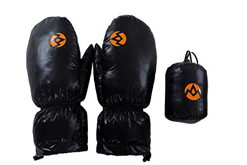 Down Mittens Goose - AEGISMAX 95% Goose Down Gloves,Winter Down Mitten Gloves,Snow Gloves,Freesize,Unisex (Black)