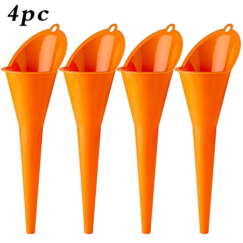 Annurssy Multi-Function Plastic Long Neck 4 Piece Oil Funnel - for All Automotive Oils,Lubricants, Engine Oils, Water, Diesel Fuel, Kerosene and Other Liquids