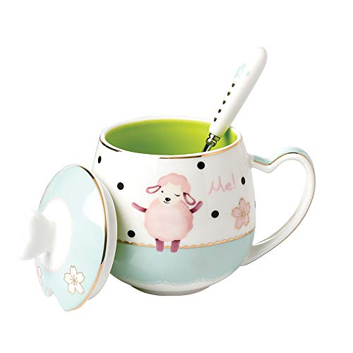 13oz Animal Coffee Mugs with Heart Shaped Handle, Bone China Sheep Coffee Tea Cup with Lid and Spoon Great Gift for Birthday Girl Daughter Women Friend ()