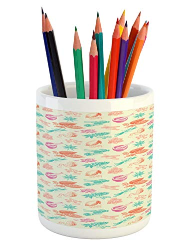 (Ambesonne Cocoa Pencil Pen Holder, Vintage Carnation Exotic Blooms Coffee Beans Cocoa Herbs Cinnamon Berries Pastel, Printed Ceramic Pencil Pen Holder for Desk Office Accessory, Multicolor)