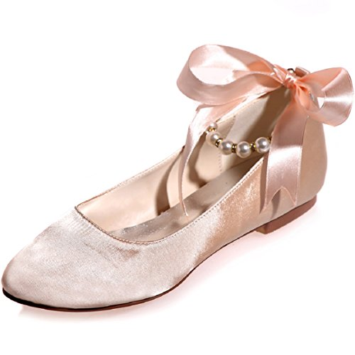 Sarahbridal Bridal 5 Wedding 4 Uk Women With Flats Shoes Uk Champagne 8 Toe Szxf9872 15a Bow Round O4SSXpWn