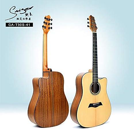 SUNXK Lado Calidad de Chapa de Madera de la Guitarra Popular Rayas B 41 Pulgadas de una Sola jita (Color : Wood Color, Size : 41 Inch): Amazon.es: Hogar