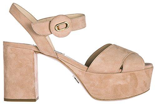 Prada Sandalias de Tacón Mujer EN Ante Nuevo Rosa