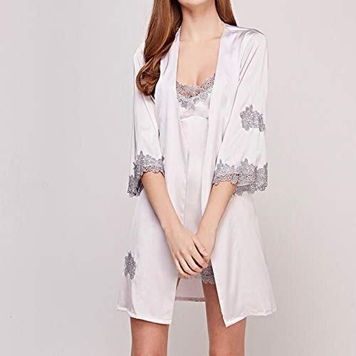 Notte Ladies White Da Slings Pezzi Ritaglio Sexy Summer Robe Di Ice Home Pigiama Camicie Manica Set Chest Seta A Pads Pizzo Due qtt1Er