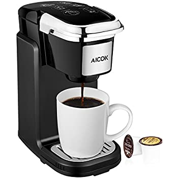 Aicok Single Serve Coffee Maker, Coffee Machine with Removable Cover for Most Single Cup Pods including K-CUP pods, Quick Brew Technology, AC507