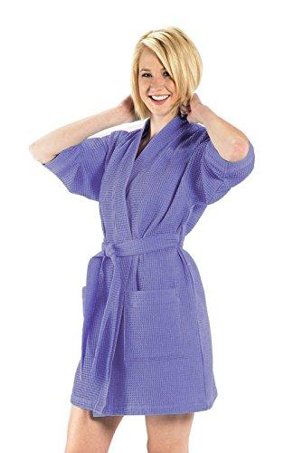 Waffle Kimono Robe, 60% Cotton Bathrobe, One Size, Lavender