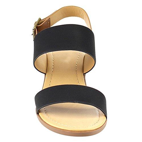 Minimalista Basic Classico Medio Basso Impilato Legno Tacco A Punta Aperta Cinturino Alla Caviglia Sandalo Donna Nero