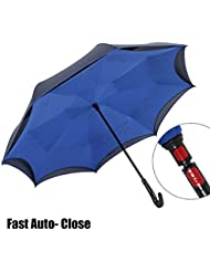 NEWBRELLAs Drip Free Reflective SOS LED Safety Car Umbrella Inverted - UV Protection Umbrellas