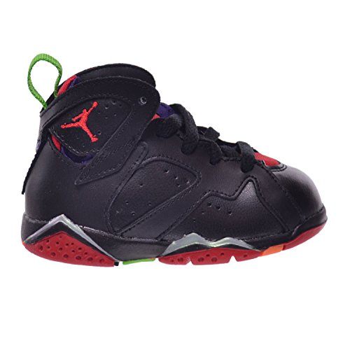 Jordan 7 Retro BT Infants Toddlers Baby Shoes Black/University Red-Green Clay Grey 304772-028 (10 M US)