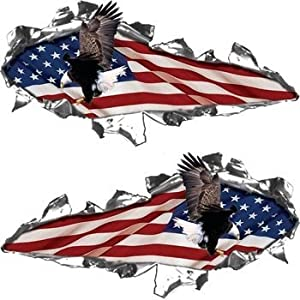 Amazon Com Ripped Torn Metal Look Decals American Flag