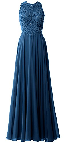 MACloth Elegant High Neck Long Prom Dress Lace Chiffon Formal Party Evening Gown Teal