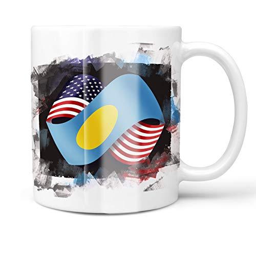 Neonblond 11oz Coffee Mug Friendship Flags USA and Palau with your Custom Name