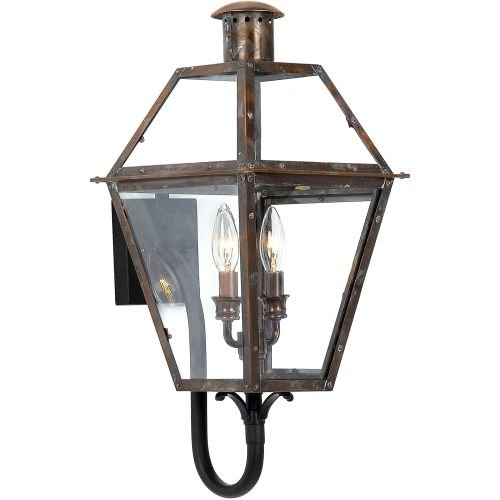 Quoizel RO8311AC Rue De Royal 2-Light Outdoor Lantern, Aged Copper