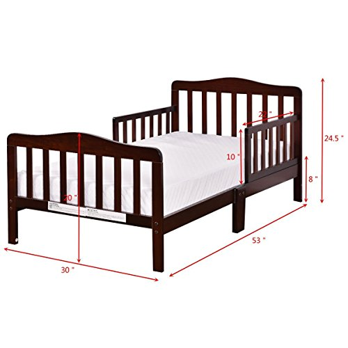 Big Oshi Contemporary Design Toddler & Kids Bed - Sturdy Wooden Frame for Extra Safety - Modern Slat Design - Great for Boys and Girls - Full Bed Frame With Headboard, Espresso