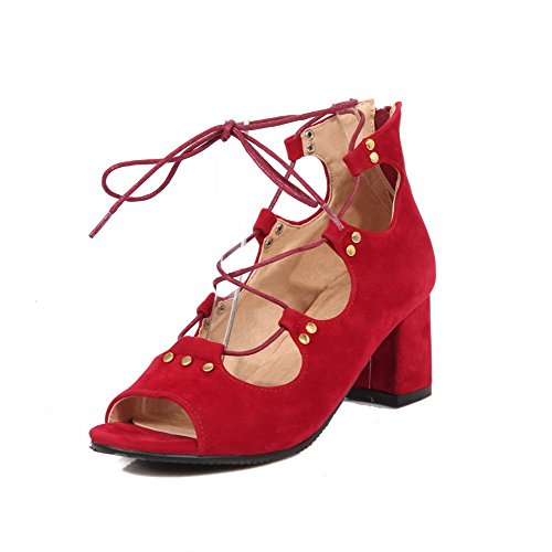 AgooLar Women's Zipper Open Toe Kitten Heels Imitated Suede Solid Sandals Red RiGT9e2Bd