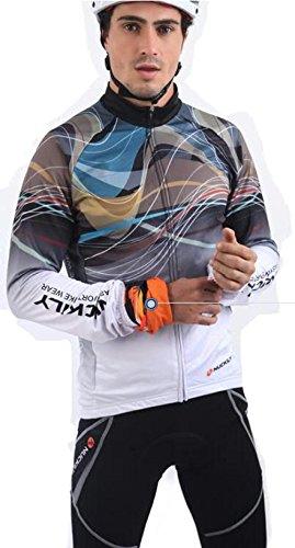 仮称引き付ける対人冬用 長袖 裏起毛 上下セット吸汗 伸縮 速乾 通気 nuckily 高品質 サイクルウェア サイクルジャージ 高級Lycra素材 3D立体デザイン 反射素材使用 自転車ウェア