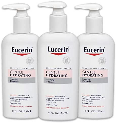 Eucerin Gentle Hydrating Foaming Cleanser - Fragrance Free, Gentle Facial Cleansing - 8 fl. oz. Pump Bottle (Pack of 3)