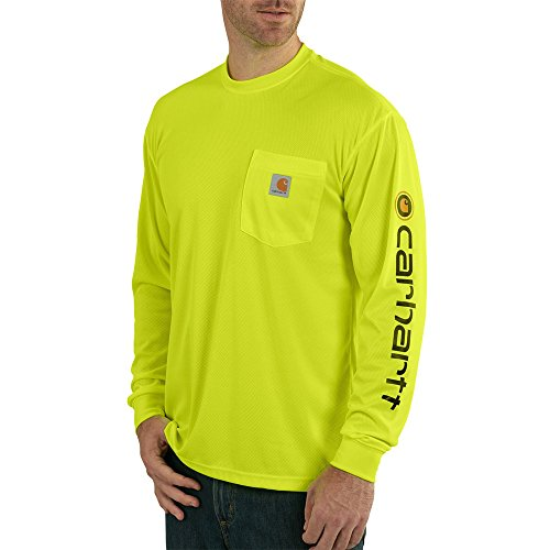 Carhartt Men's Hi-Vis Force Color Enhanced Graphic Long Sleeve T-Shirt, Brite Lime, Small