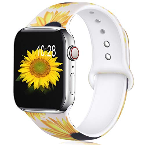 KOLEK Floral Bands Compatible with Apple Watch 38mm 40mm, Silicone Fadeless Pattern Printed Replacement Bands for iWatch Series 4 3 2 1, Sunflower, M L