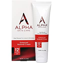 Alpha Skin Care Enhanced Renewal Cream with 12% Glycolic AHA, fragrance-free and paraben-free, 2 oz.