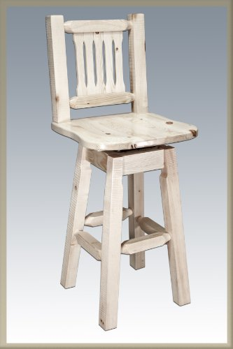 (Montana Woodworks Homestead Collection Barstool with Back and Swivel Seat, Ergonomic Wooden Seat, Ready to Finish)