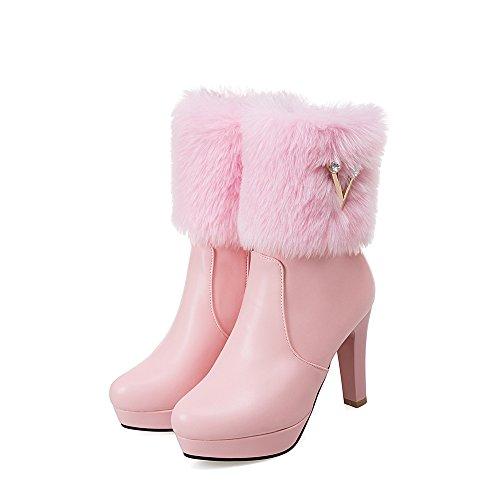 de de cálida áspero botas Pink Zapatos mujer Color gran sólido tamaño cortas DYF tacón B0qwF5n