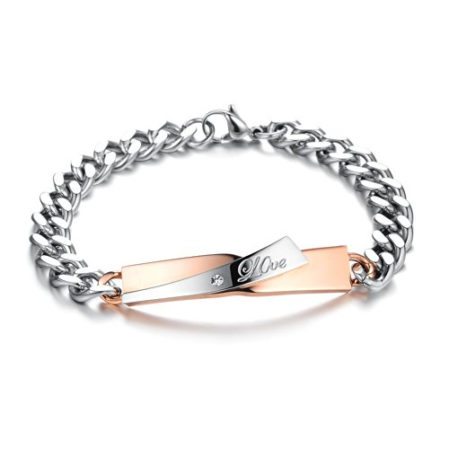 Strand Bracelet Wheat (OeOeOs Stainless Steel Two-strand Wheat Chain Link for Men Women Punk Biker Wrist Bracelet Curb High Polished(silver+gold))