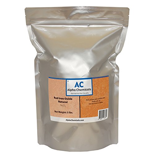 Red Iron Oxide - Fe2O3 - Natural - 5 Pounds by Alpha Chemicals