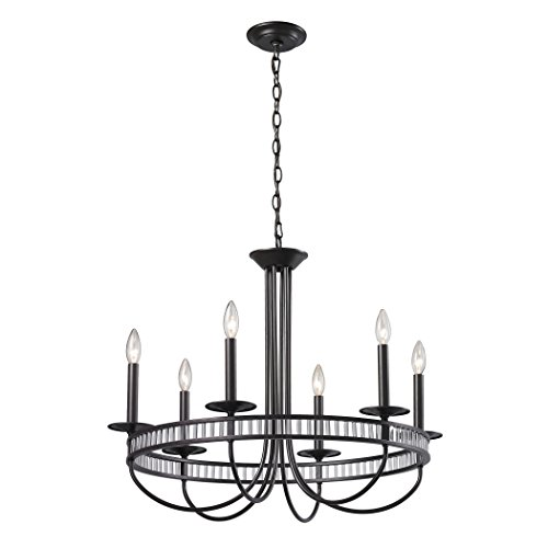 Alumbrada Collection Braxton 6 Light Chandelier In Aged Bronze And Clear Ribbed Glass