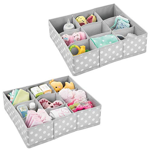 mDesign Soft Fabric 9 Section Dresser Drawer and Closet Storage Organizer Bin for Baby Room, Nursery, Playroom - Divided Large Organizers - Polka Dot Print - 2 Pack - Light Gray with White Dots ()
