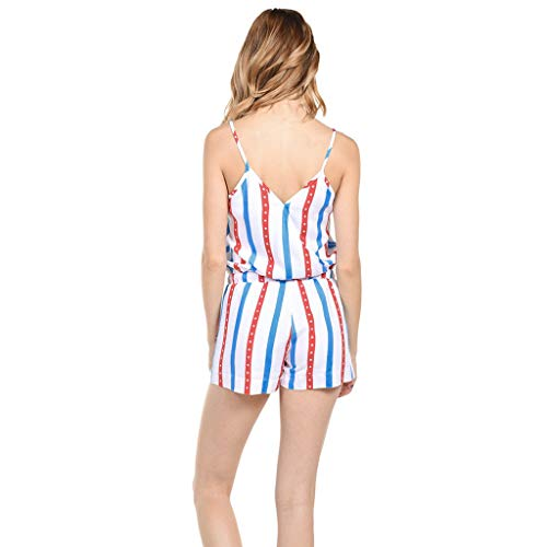 CapsA Women Jumpsuits American Flag Drawstring Leg Pant Sleeveless Button Down Striped Short Jumpsuit Cami Romper